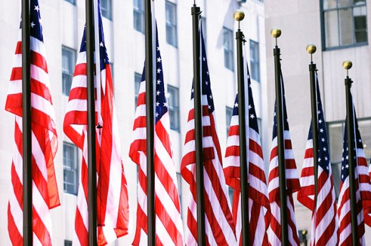 American flags : Stock Photo