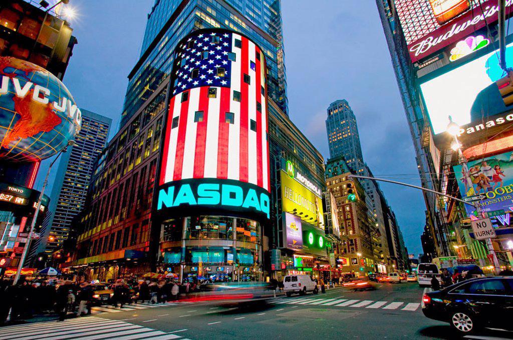Stock Photo: 1566-083390 NASDAQ, Times Square. New York City, USA