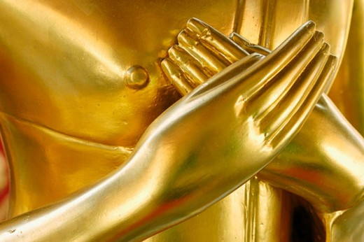 Hands of golden buddha figure. Wat Phra That Doi Suthep. Chiang Mai. Thailand : Stock Photo
