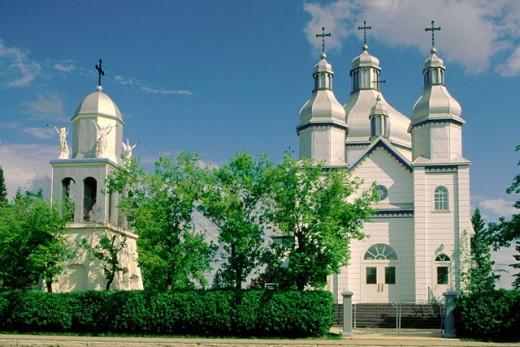 Stock Photo: 1566-084096 Holy Ghost Ukrainian Catholic Church. Sandy Lake. Canada