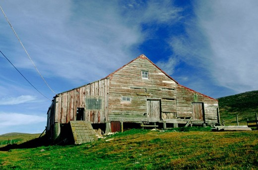 Old wooden barn. Falkland Islands : Stock Photo