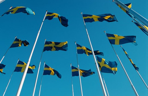 Swedish flags. Stockholm. Sweden : Stock Photo