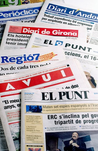 Papers in catalan language. Spain : Stock Photo