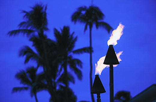 Stock Photo: 1566-089780 Hawaiian torches. Waikiki Beach. Honolulu. Oahu. Hawaii
