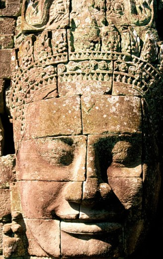 Head of relief at Temple of Bayon, complex of Angkor Thom. Angkor. Cambodia : Stock Photo