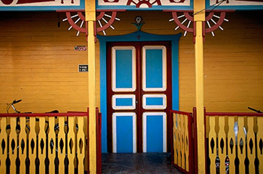 Colourful doorway at Isla Mujeres town. Quintana Roo. Mexico : Stock Photo