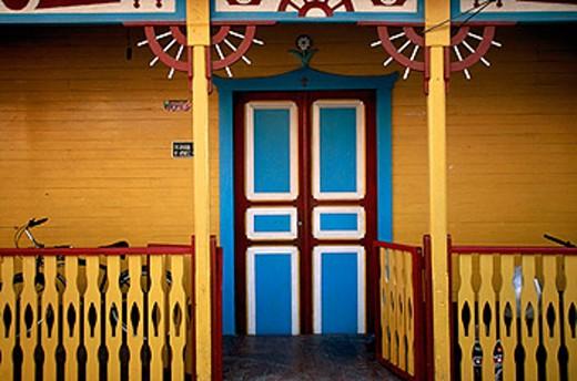 Stock Photo: 1566-090140 Colourful doorway at Isla Mujeres town. Quintana Roo. Mexico