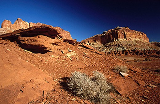 Stock Photo: 1566-090433 Twin Rocks area landscape. Capitol Reef National Park. Utah. USA