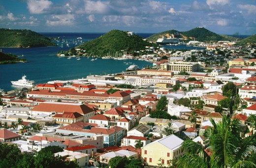 Stock Photo: 1566-090492 Houses and harbour in Charlotte Amalie from Government Hill. Saint Thomas Island. U.S. Virgin Islands