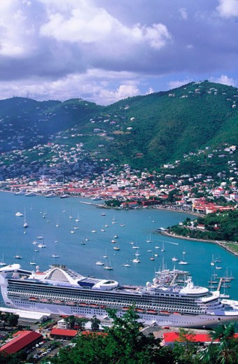 Stock Photo: 1566-090496 Charlotte Amalie from Paradise Point Tramway. Saint Thomas Island. U.S. Virgin Islands