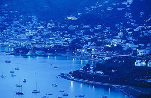 Charlotte Amalie from Paradise Point Tramway in the everning. Saint Thomas Island. U.S. Virgin Islands : Stock Photo