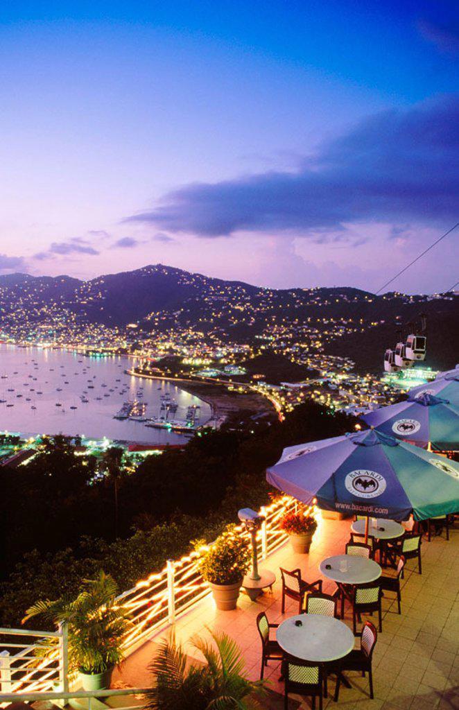 Charlotte Amalie from Paradise Point Tramway at sunset. Saint Thomas Island. U.S. Virgin Islands : Stock Photo