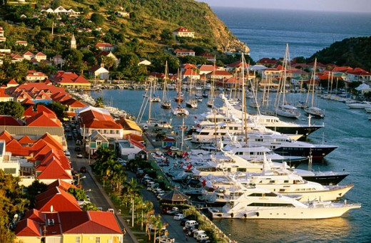 Yacht harbour. View from Fort Gustave. St. Barthelemy. Gustavia. French West Indies. Caribbean : Stock Photo