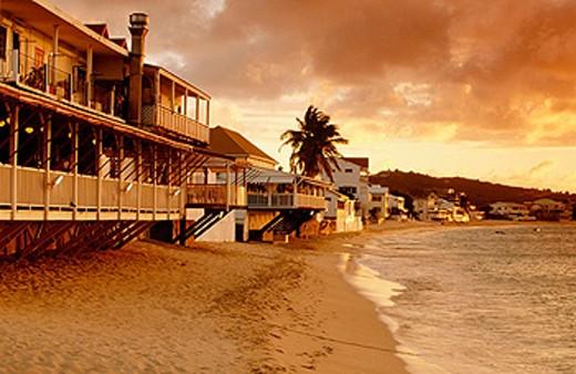 Stock Photo: 1566-090616 Nettuno Restaurant on Grand Case´s beach. St. Martin Island. French West Indies
