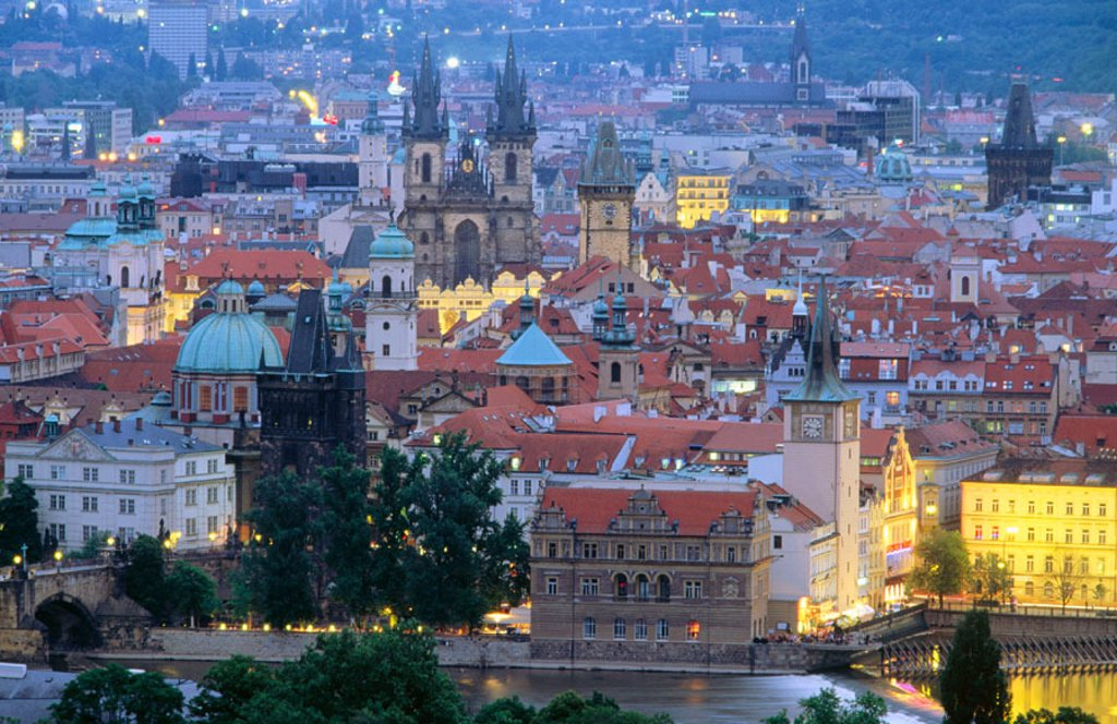 View of Stare Mestro from Petrin Hill. Prague. Czech Republic : Stock Photo