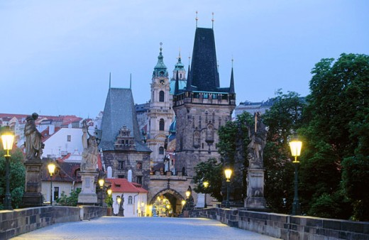 Dawn view of Charles Bridge and Mala Strana Bridge Tower. Prague. Czech Republic : Stock Photo