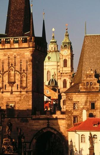 Church of Saint Nicholas at dawn from Charles Bridge. Prague. Czech Republic : Stock Photo