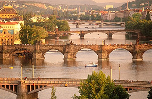 Vltava river bridges. Prague. Central Bohemia. Czech Republic : Stock Photo