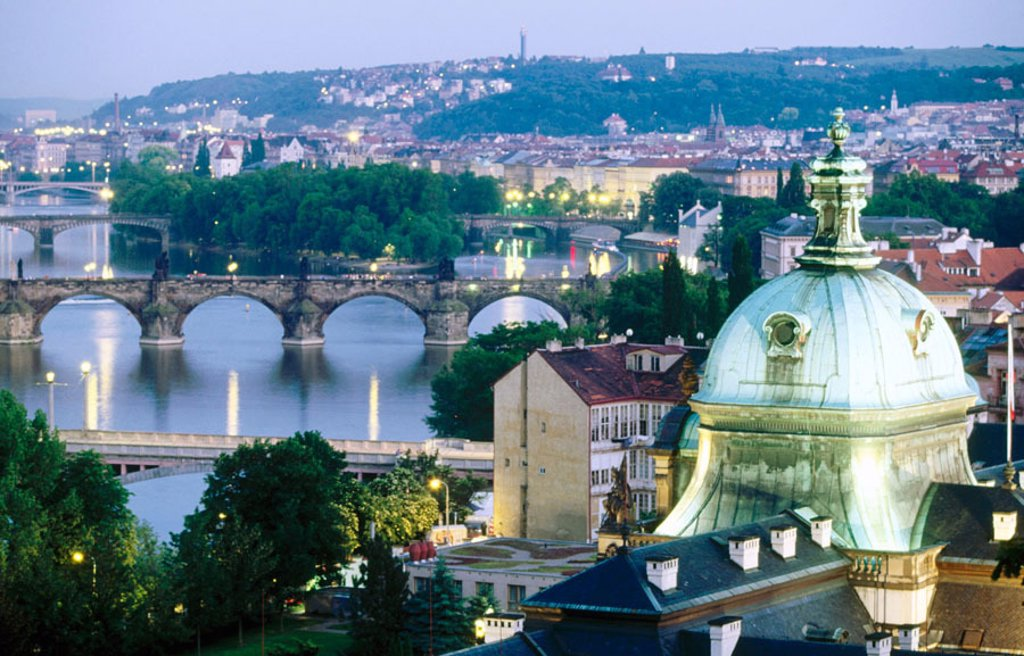 Stock Photo: 1566-090945 Bridges over Vltrava River and view of Mala Strana. Prague. Czech Republic