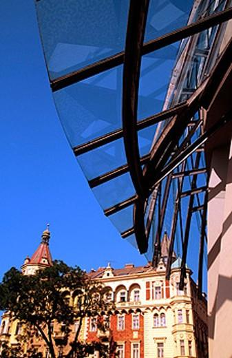 Stock Photo: 1566-090948 Rasinovo Nabrezi Street, alogn Vltava River. Prague. Czech Republic