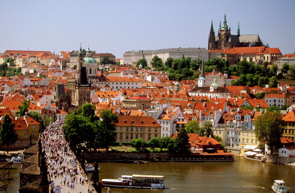 Charles Bridge from Old Town Bridge Tower. Prague. Czech Republic : Stock Photo
