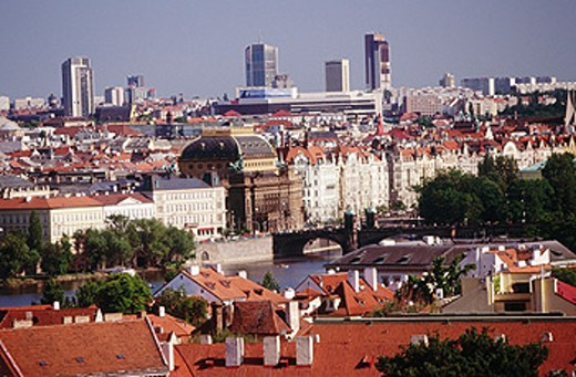 National Theather and Vltava River embankment. Prague. Czech Republic : Stock Photo