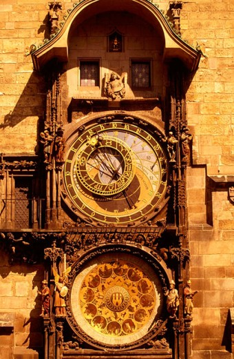 Stock Photo: 1566-090998 Old Town Hall astronomical clock. Prague. Czech Republic