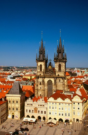 The Tyn Church in the old town. Prague. Czech Republic : Stock Photo