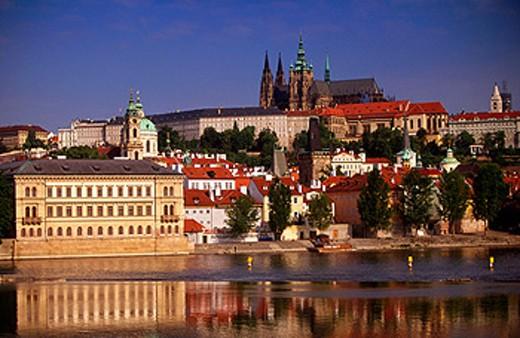 St. Nicholas Church and Prague Castle. Czech Republic : Stock Photo