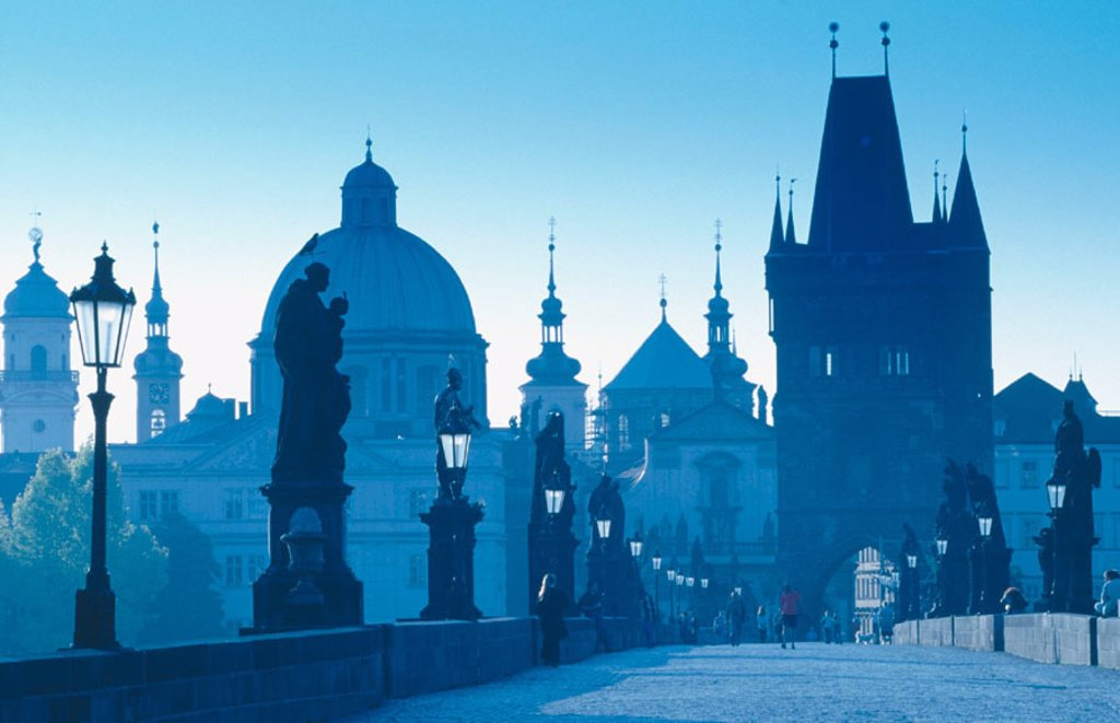 Stock Photo: 1566-091014 Bridge Tower from Chales Bridge at dawn. Prague. Czech Republic