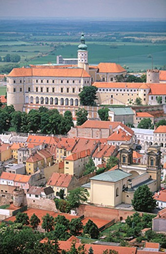 Castle (13th century) from Holy Hill. Mikulov. Palava region. South Moravia. Czech Republic : Stock Photo