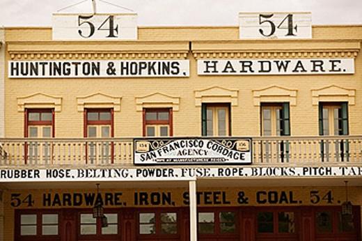 Stock Photo: 1566-091239 Building storefront in Old Sacramento. California, USA