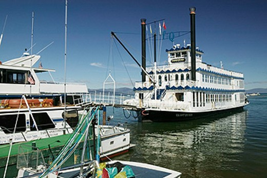 Stock Photo: 1566-091250 Tahoe Queen tour boat in Lake Tahoe. California, USA