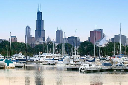 Stock Photo: 1566-091525 Morning view of city skyline from Burnham Park yacht harbor. Chicago. Illinois, USA
