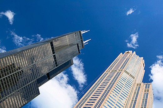 The Loop, Sears Tower and 311 South Wacker Drive. Chicago. Illinois, USA : Stock Photo