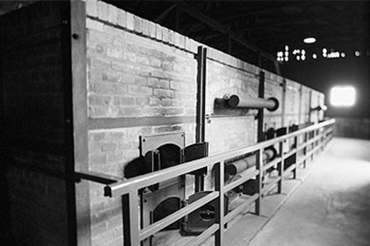 Crematorium interior, World War II Majdanek concentration and extermination camp. Lublin. Malopolska, Poland : Stock Photo