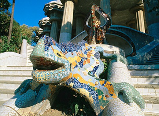 The Dragon at Güell Park, by Gaudí. Barcelona. Spain : Stock Photo