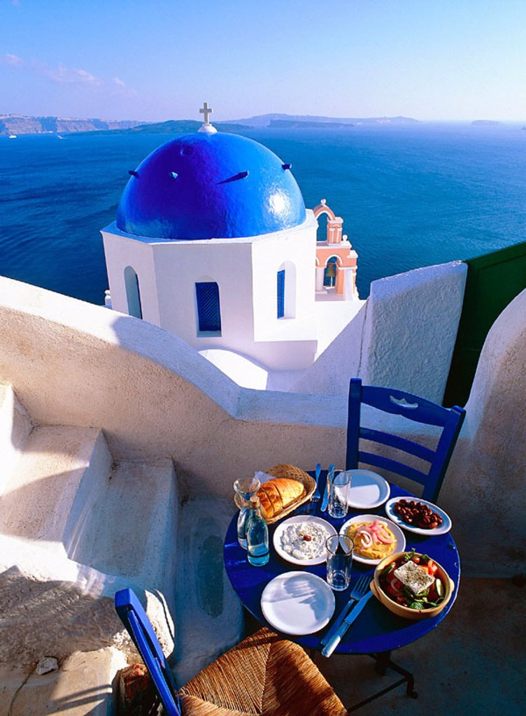 Stock Photo: 1566-095897 Greece, Cyclades, Santorini Church. on the Caldeira at Oia, Greek food, Greek salad & Mezzes