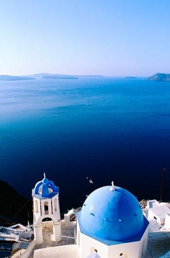 Greece, Cyclades, Santorini. Church on the Caldeira at Oia. : Stock Photo