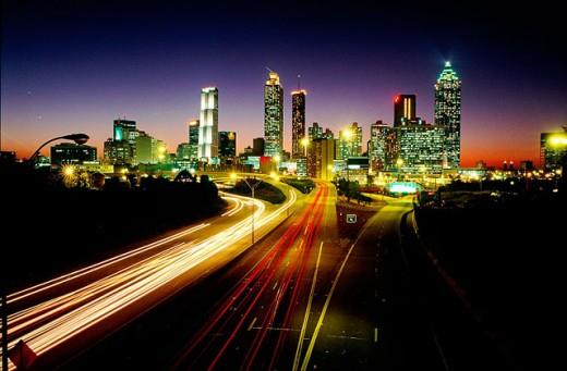Stock Photo: 1566-096008 Atlanta Skyline at night. USA