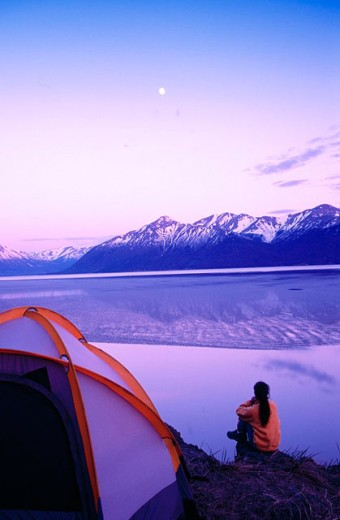 Watching moonrise over Cook Inlet. Chugach State Park. Alaska : Stock Photo
