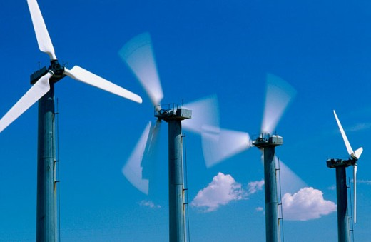 Palm Springs wind turbines : Stock Photo