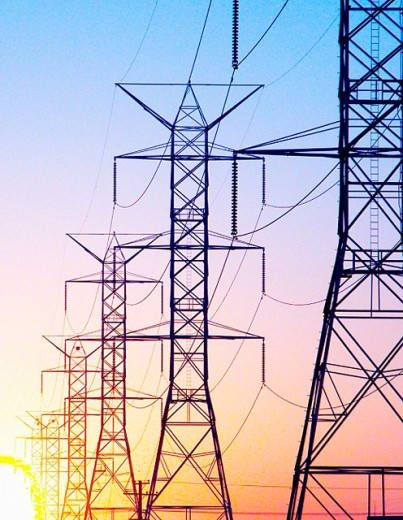 Stock Photo: 1566-097427 silhouette power lines
