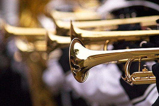 trumpets in a band : Stock Photo