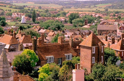 Stock Photo: 1566-098616 Rooftops viewed from the bell tower of St. Mary´s Church. Rye. East Sussex. England