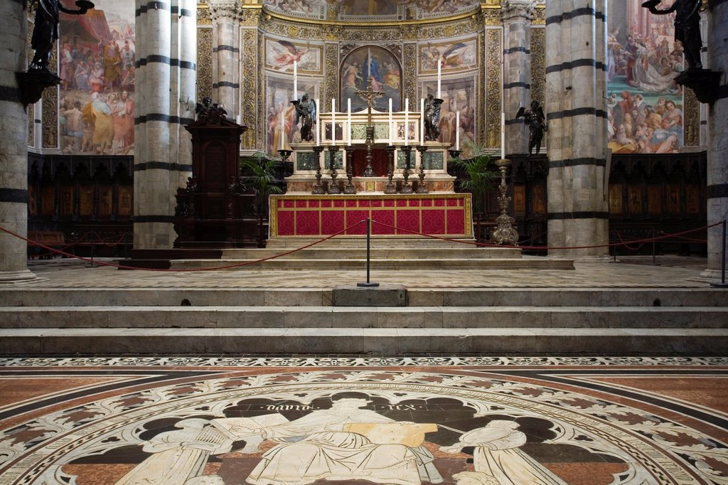 Stock Photo: 1566-1000030 europe, italy, tuscany, siena, cathedral, mosaics on the floor