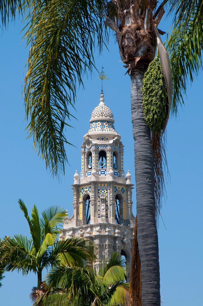 Stock Photo: 1566-1000245 Museum of Man tower, Balboa Park, San Diego, California