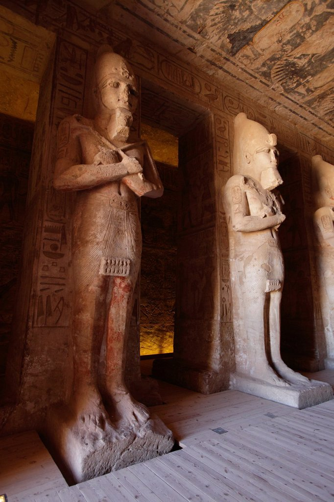 Stock Photo: 1566-1000938 The hypostyle hall of the Great Temple, with Osiris pillars, Abu Simbel, Aswan, Egypt