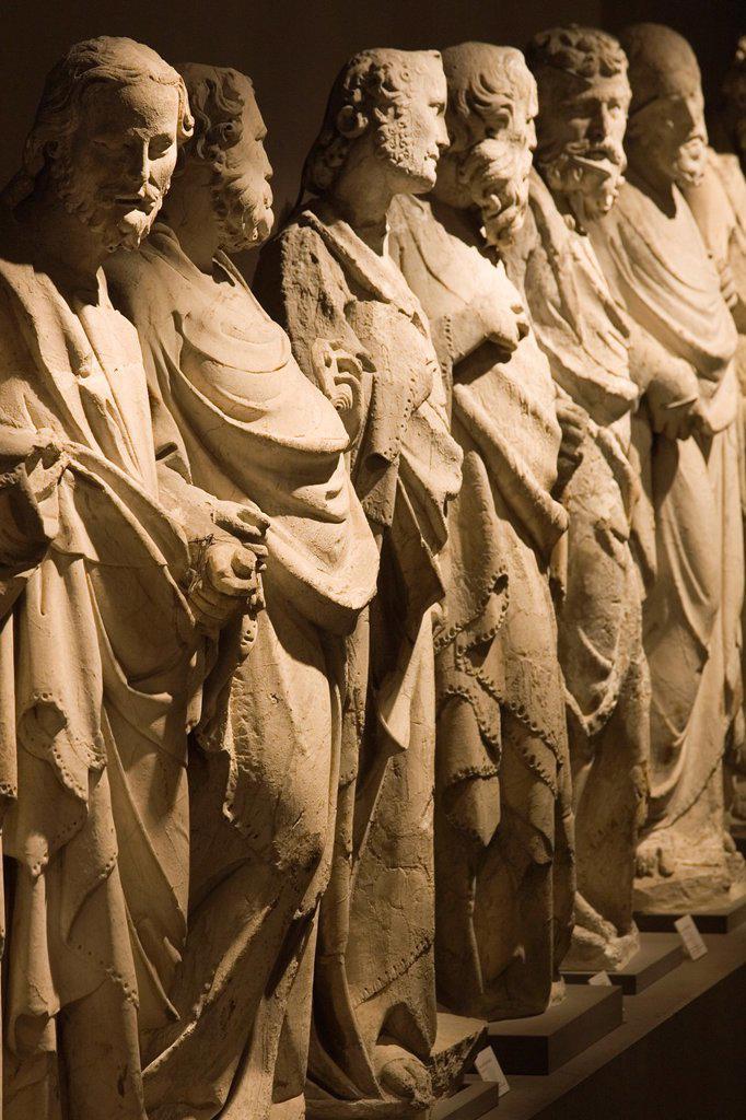 europe, italy, tuscany, siena, museum opera metropolitana, statues of the school of giovanni pisano representing the apostles : Stock Photo