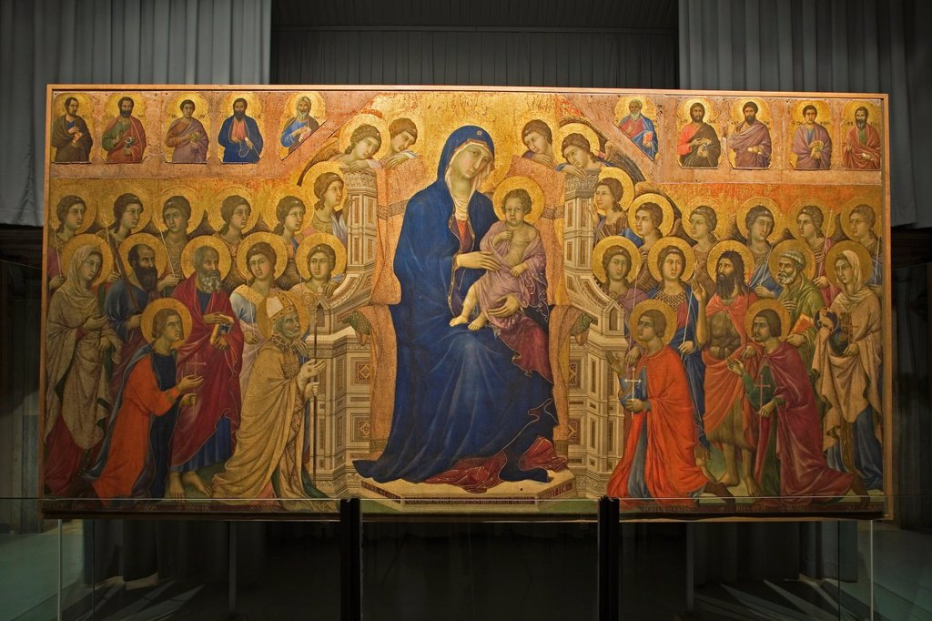europe, italy, tuscany, siena, museum opera metropolitana, show-room dedicated to duccio di buoninsegna, majesty by duccio di buoninsegna : Stock Photo